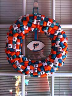 Miami Dolphins Ribbon Wreath. $25.00, via Etsy.