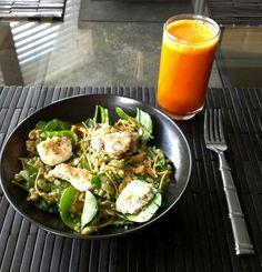 Asian Chicken Spinach Salad: spinach grilled chicken, chopped quinoa ...