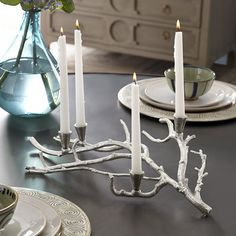 Pin for Later: 12 Creepy-Chic Finds to Decorate With All Year Ghostly Candelabra Just pair this branch-shaped candelabra ($55, originally $79) with black taper candles and you're set.