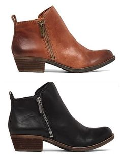 """Womens Lucky Brand """"Basel"""" Leather Western Inspired Booties 