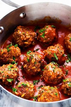 Porcupine meatballs are hearty and well seasoned meatballs with rice that simmer in a rich tomato sauce. Easy and delicious meatball recipe! Meatballs And Rice, Meatless Meatballs, Jelly Meatballs, Oven Recipes, Salad Recipes, Cooking Recipes, Barbecue Recipes, Hamburger Meat Recipes, Sweets