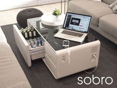 Sobro Smart Coffee Table Has Built In Fridge, USB, Bluetooth & Awesome Lights  #decor #design #smart With all the technological advances happening today, there are countless gadgets that make life easier for people, such as improving the way people co...