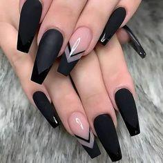Acrylic Nail Designs Coffin, Black Acrylic Nails, Square Acrylic Nails, Summer Acrylic Nails, Best Acrylic Nails, Black Nail Designs, Black Coffin Nails, Summer Nails, Nail Black