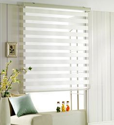 SHINY HOME Blinds Horizontal Window Curtain Shade Blind Zebra Roller Blinds 31 x 60 White