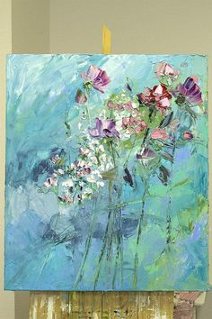 Blue White Emerald Lilac Purple Navy Art Work Extra Large Original Oil Painting Palette Knife Impasto Colorful Flowers Impressionism Abstract Living Room Wall Decor Possible to perform a similar oil painting in the size you want. Hi ! This artwork is painted in oils on canvas with #OilPaintingPalette