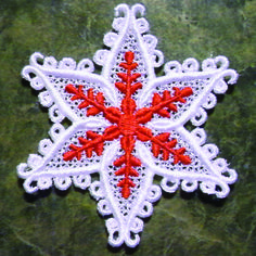Lace machine embroidery designs look so elegant and difficult, but they could not be easier to make. Make your machine do all the work! Learn how to stitch a holiday ornament that looks oh, so complicated!