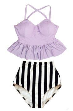 Lavender Long Peplum Top and Stripe Stripes High waisted waist cut High-waisted High-waist Bottom Swimsuit Bikini Bathing suit wear S M L XL by venderstore on Etsy