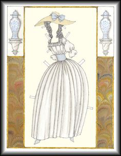 """An Old-Fashioned Paper Doll circa 1790 based Upon """"My lady Scandalous"""" a Biography of Grace Elliott by Jo Manning  PAPER DOLL by Donald Hendricks 2 of 2"""