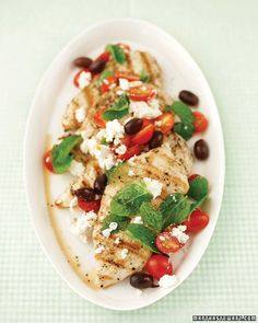 I make crock pot Greek chicken with Greek dressing, sundries tomatoes ,garlic. Cook on low add baby spinach, grape tomatoes last 20 minutes. Serve over brown rice, garnish with fresh feta and black olives. It is delicious !