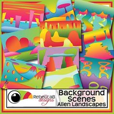 Background Scenes Alien Landscapes contains 10 colored and 10 black and white background scenes for your products. Simply place your text and clip art over the background scene. Create product covers, posters, dioramas, worksheets, activities and other teaching resources.