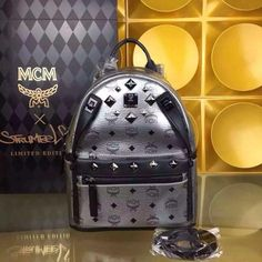 MCM Small Dual Stark Backpack In Silver