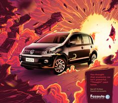This print ad created by G Marketing, Brazil for Fazauto Volkswagen is so eye catching with the bright colors and imagery. Clever copy as well! Creative Poster Design, Ads Creative, Creative Posters, Creative Advertising, Street Marketing, Guerilla Marketing, Exhibition Booth Design, Exhibition Stands, Exhibit Design