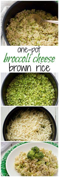 1 medium head Broccoli. 1 clove Garlic. 1/2 cup Onion. 1 cup Brown rice. 1/2 tsp Salt. 1 Salt and black pepper. 1 tbsp Butter, unsalted. 2 cups Cheddar cheese. 2 cups Water.
