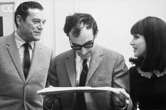 Eddie Constantine, Jean-Luc Godard and Anna Karina  on the set of Alphaville, 1965. Photo by Georges Pierre