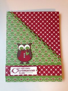 Owl Christmas Card. Add a gift card to one of the pockets for an all in one Christmas gift, or add a photo, message, announcement, etc. on Etsy, $4.00