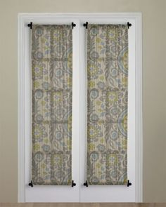 Charming French Door Curtain   Finished Curtain Hung And Gathered Between The Curtain  Rods   Atticmag.com | French Door Treatments | Pinterest | French Door  Curtains ...