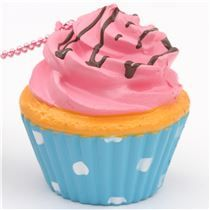 pink icing cupcake squishy charm cellphone charm kawaii