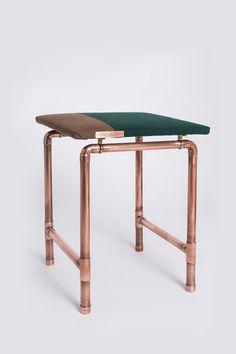 Wohnidee: Hocker im Industrial Stil, Stuhl / home decor: stool in industrial style, chain made by FreundundKupferstecher via DaWanda.com