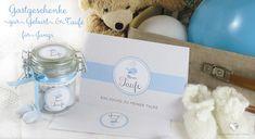 DIY Gastgeschenke zur Taufe und Geburt für Jung`s: Sticker, Grußkarten, Schleifen u.vm. erhältlich bei Grußkarte mit Herz