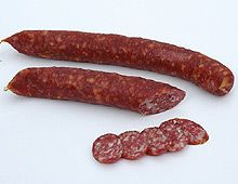 Smoked Sausages (Kaminwurzen), or as we call it, chimney sausage, from an area located in the Alps on the Northern border of Italy, the cuisine of South Tyrol, Italy offers up distinct flavours in its mix of alpine culture and Italian sophistication.  We buy it at the Borough market and slice it thin to serve with cheese