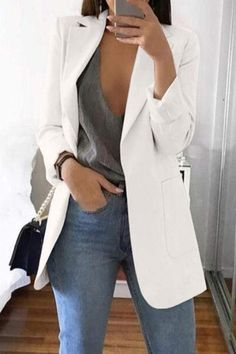 Casual Work Outfits, Professional Outfits, Mode Outfits, Work Casual, Classy Outfits, Fall Outfits, White Blazer Outfits, Look Casual Chic, Leopard Blazer