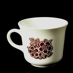 Corning Corelle Batik Cup Mug Brown Flower on White