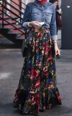 skirt fleurie.  I love the jean jacket with it  Makes me want to go out and buy one.