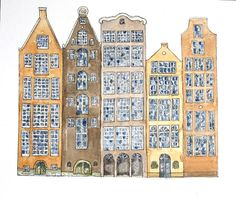 Print Houses Amsterdam From The Canal 6 x 4 inch by Illustrarti, $3.00