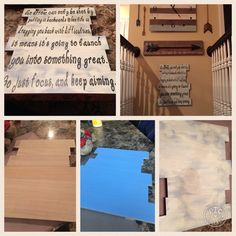 DIY arrow meaning... Wood sing from hobby lobby, painted blue first, distressed with chalk paint, words cut out on cricut explore air.