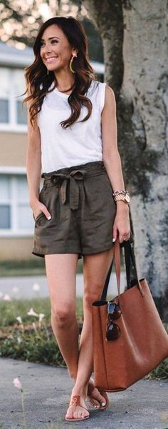 #spring #summer #outfitideas   White Top   Khaki Shorts  Sequins & Things