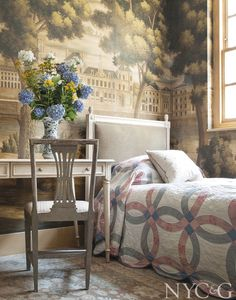 A Knightsbridge mews house makes a fitting backdrop for the exuberant wallpaper and vibrant decor of its owner.