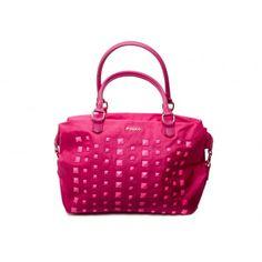 PINKO -  Fried boston bag studs detail in nylon and eco-leather fucsia  - Elsa-boutique.it