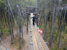 Crossing the 80-foot sky bridge (40-feet above the ground) while ziplining with Cypress Hills Eco-Adventures in Cypress Hills Interprovincial Park. FUN!