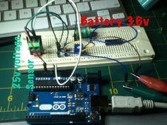 Voltage sensor in action.  Reading small rechargeable battery,