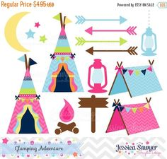 80% OFF  INSTANT DOWNLOAD glamping clipart by JessicaSawyerDesign