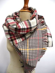 Plaid tartan scarf Plaid Blanket Scarf Double side scarf Oversized Holidays Accessories Scarves Plaid Trending Item