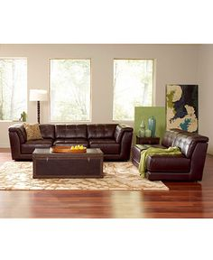 $1749 (couch and ottoman) Stacey Leather Modular Living Room Furniture Collection - The Leather Shop - Furniture - Macy's