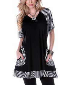 $29.99 (This Event Ends in 3 - Days and 13 Hours) Black & White Pocket V-Neck Tunic #zulily http://www.zulily.com/?SSAID=930758&tid=acceleration_930758 #zulilyfinds