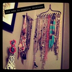 rake for hanging necklace