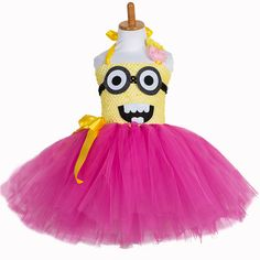 >> Click to Buy << Minion Fancy Tutu Dress for Children Girl 2T to 12T Despicable Me Party Cosplay Birthday Easter Costume Yellow Hot Pink Tulle #Affiliate