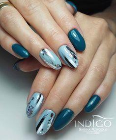 Autumn Nails, Winter Nails, Green Nails, Blue Nails, Nail Courses, Diy Nails Stickers, Stylish Nails, Nails Inspiration, Beauty Nails