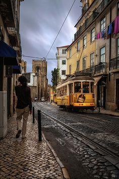 Color Urbanscape photograph of the 28 tram Wall Art Prints, Fine Art Prints, Canvas Prints, Professional Photo Lab, Old Street, Lisbon Portugal, Shades Of Black, Street Artists, Textile Prints