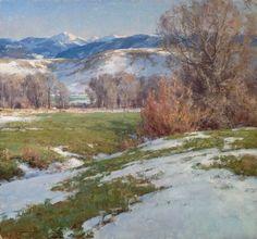 Winter Release by Clyde Aspevig Watercolor Landscape, Landscape Art, Landscape Paintings, Painting Snow, Winter Painting, Clyde Aspevig, Western Landscape, Mountain Paintings, Traditional Paintings