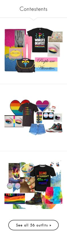 """Contestents"" by you-would-not-know on Polyvore featuring J Brand, pride, American Apparel, WALL, Sunday Somewhere, INC International Concepts, Casetify, Converse, Jimmy Choo and mblm by Tess Holliday"