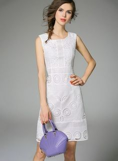 3ce195d0bb78 White Cotton Dress Pink Sky Blue White Cotton Solid Sleeveless Above Knee  Dresses