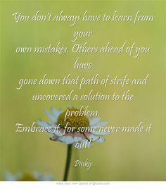 You don't always have to learn from your own mistakes. Others ahead of you have gone down that path of strife and uncovered a solution to the problem. Embrace it, for some never made it out!