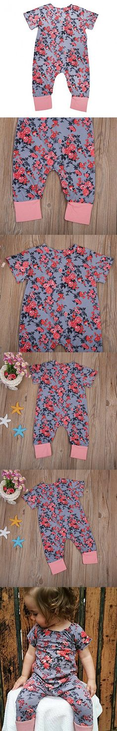 Newborn Baby Girl Floral Printed Romper Outfits Sleeveless Summer Bodysuit (80 / 6-12 Month, Gray Floral Printed)