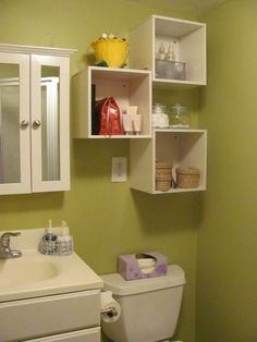Small batrom design ideas: bathroom storage over toilet   http://www.littlepieceofme.com/bathroom/small-batrom-design-ideas-bathroom-storage-over-toilet/