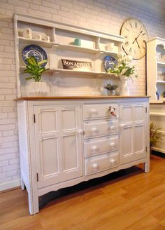 Ercol Dresser Painted in Farrow & Ball Estate Eggshell Shade Strong White. Shabby Chic