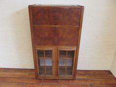 An Unusual Art Deco Walnut Drinks Cabinet / Bar / Bureau / Bookcase Writing Bureau, Drinks Cabinet, Unusual Art, Fantastic Art, Sitting Area, Bookcase, Art Deco, Bar, Landing